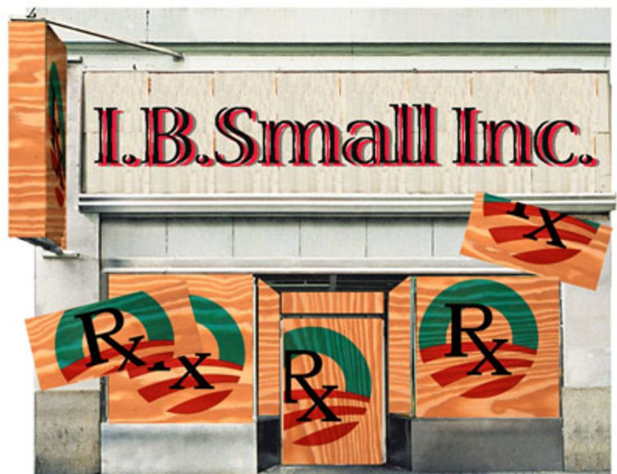 Illustration: Unhealthy small business by Alexander Hunter for The Washington Times