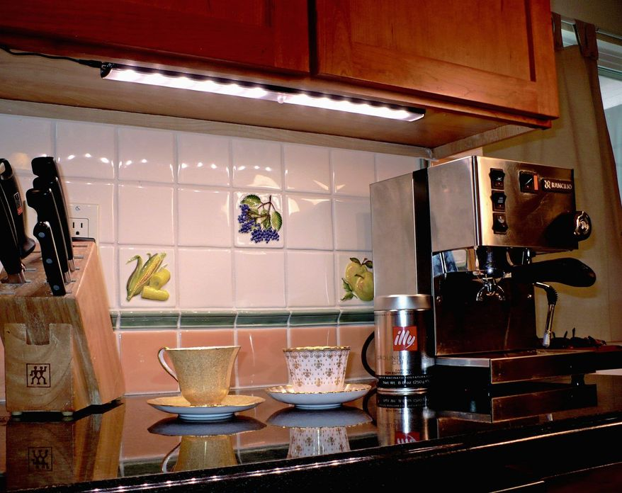 Although they are more expensive than halogen under-cabinet lighting, LED lights , which are cool to the touch, won't heat up the underside of kitchen cabinets.