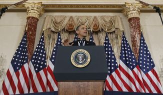 President Obama delivers a policy address on events in the Middle East at the State Department in Washington on Thursday, May 19, 2011. (AP Photo/Charles Dharapak)