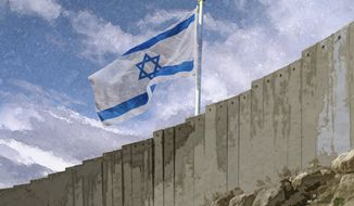 Illustration: Israeli border by Greg Groesch for The Washington Times