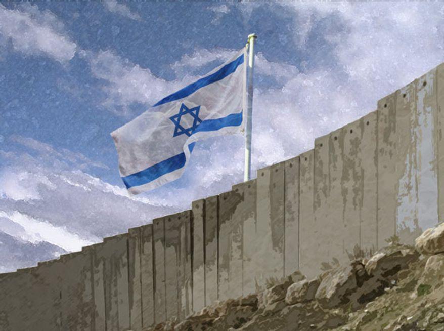 Illustration: Israeli border by Greg Groesch for The Washington Times