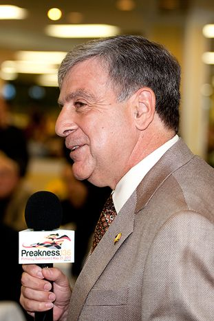 Preakness: Mike Masiello talks about King Congie and the story of Congie DeVito at Thursday morning's Alibi Breakfast at Pimlico. (Jerry Dzierwinski / Maryland Jockey Club)