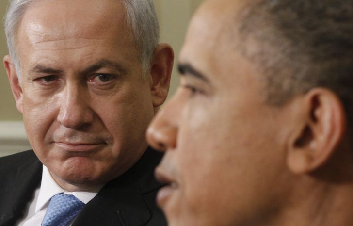 ** FILE ** President Obama meets with Prime Minister Benjamin Netanyahu of Israel in the Oval Office at the White House on May 20, 2011. (Associated Press)