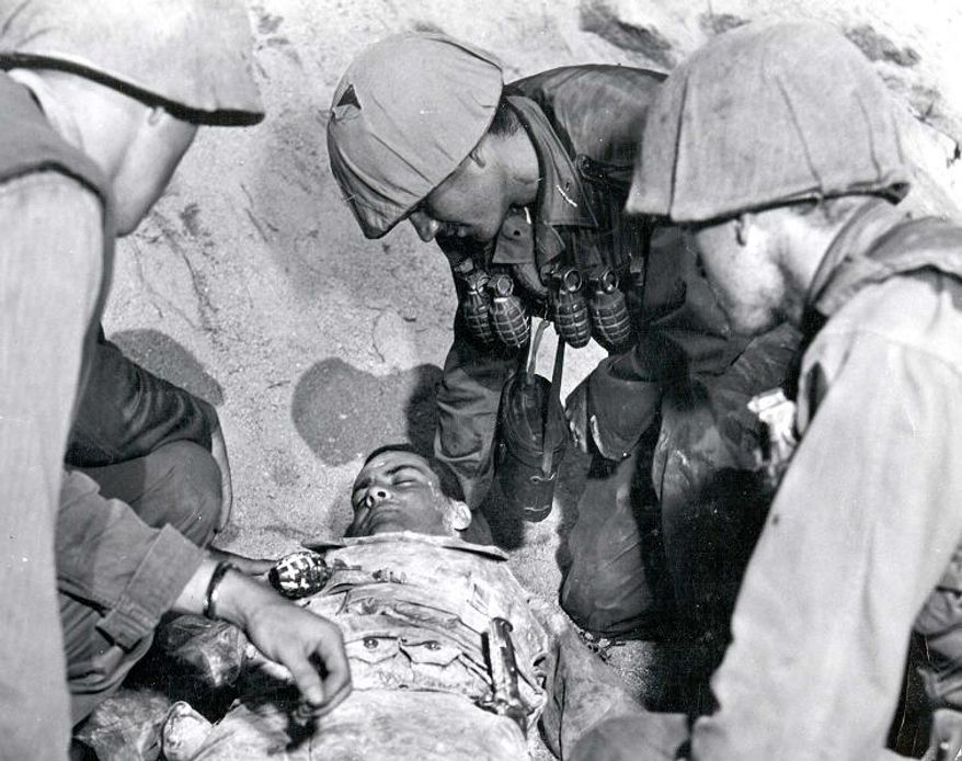 PFC Ricardo Carrasco's original death scene, later cut from the film out of respect for the Carrasco family, from the 1953 Paramount Pictures movie Cease Fire!