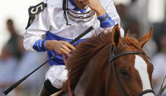 Preakness: Jesus Castanon (5) reacts aboard Shackleford after winning the 136th Preakness Stakes horse race at Pimlico Race Course, Saturday, May 21, 2011, in Baltimore. (AP Photo/Patrick Semansky)
