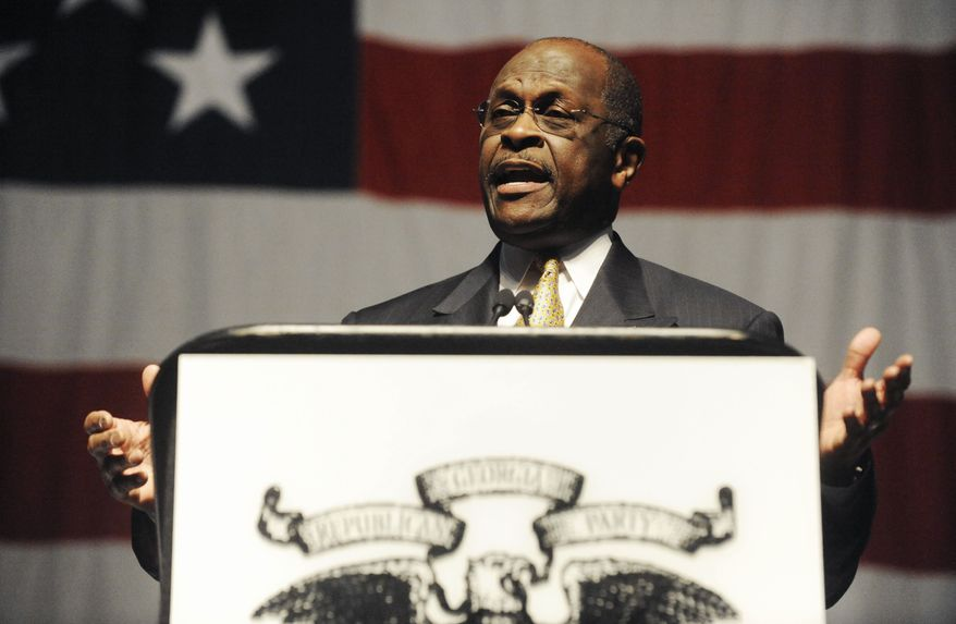 ** FILE ** Atlanta businessman Herman Cain speaks at the Georgia Republican Party convention in Macon, Ga., on Saturday, May 14, 2011. (AP Photo/The Macon Telegraph, Grant Blankenship)