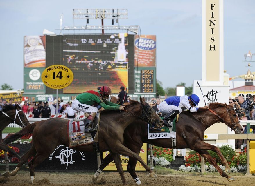 Preakness Stakes: Shackleford, right, with Jesus Castanon aboard, crosses the finish line to win the 36th Preakness Stakes horse race at Pimlico Race Course, Saturday, May 21, 2011, in Baltimore. Animal Kingdom, with John Velazquez aboard, took second place. (AP Photo/Mike Stewart)