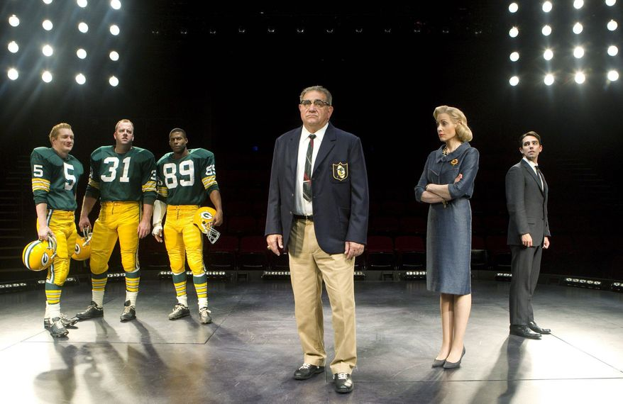 """ASSOCIATED PRESS Dan Lauria (center) portrays the late, great football coach Vince Lombardi in """"Lombardi"""" on Broadway. Fellow cast members are (from left) Bill Dawes, Chris Sullivan, Robert Christopher Riley, Judith Light and Keith Nobbin. The play's director, Thomas Kail, is part of a new generation of theatrical thirtysomethings."""