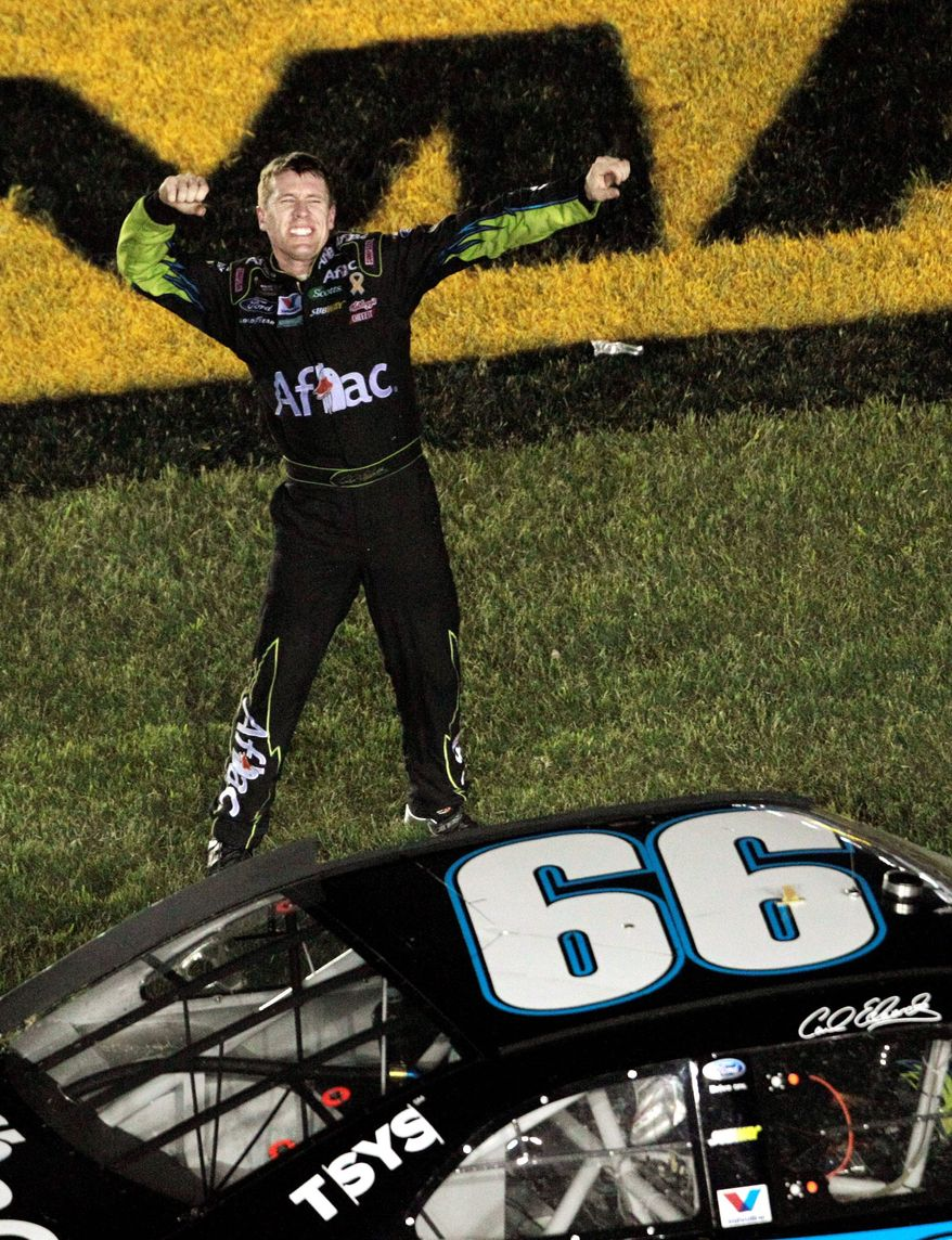 ASSOCIATED PRESS Carl Edwards celebrated after winning the Sprint All-Star Race at Charlotte Motor Speedway on Saturday night. All four Roush Fenway Racing drivers finished in the top eight.