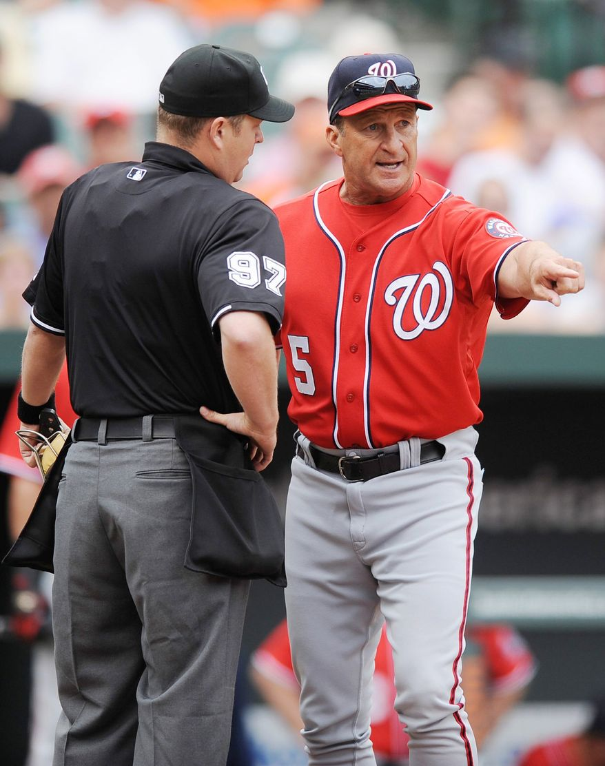 ASSOCIATED PRESS Washington manager Jim Riggleman's afternoon at Baltimore lasted just two pitches when he was ejected for arguing an out call on the first batter.