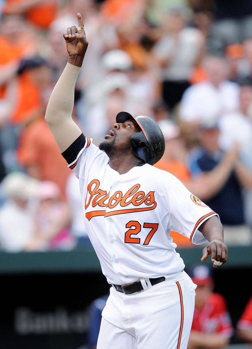 ASSOCIATED PRESS Orioles designated hitter Vladimir Guerrero celebrates his two-run home run during the seventh inning at Camden Yards.