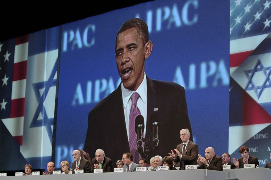 "President Barack Obama's image is displayed as he tells delegates at the American Israel Public Affairs Committee (AIPAC) convention that the bonds between the US and Israel are ""unbreakable"", Washington, Sunday, May 22, 2011. (AP Photo/J. Scott Applewhite)"