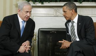 President Obama meets with Israeli Prime Minister Benjamin Netanyahu in the Oval Office at the White House in Washington on Friday, May 20, 2011. (AP Photo/Charles Dharapak)