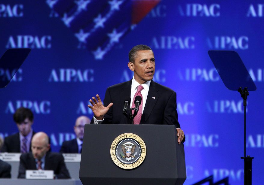 President Obama speaks at the American Israel Public Affairs Committee (AIPAC) convention in Washington on Sunday, May 22, 2011. Mr. Obama said the bonds between the United States and Israel are unbreakable. (AP Photo/Jose Luis Magana)