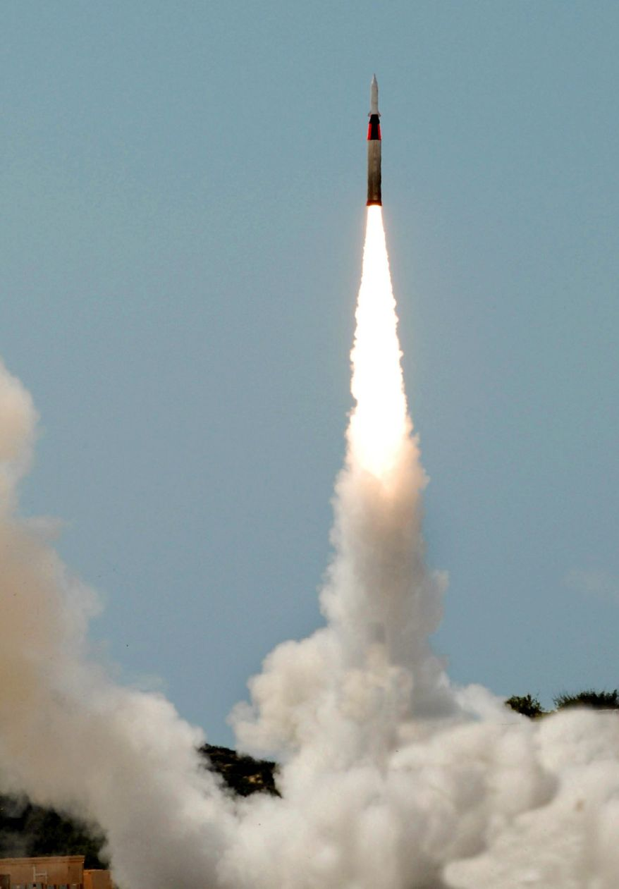An Israeli Arrow interceptor anti-tactical ballistic missile is test-fired in 2007 from an undisclosed location in Israel. It and other major defense projects were developed through a U.S.-Israeli partnership. (Israel Aerospace Industries via Associated Press)
