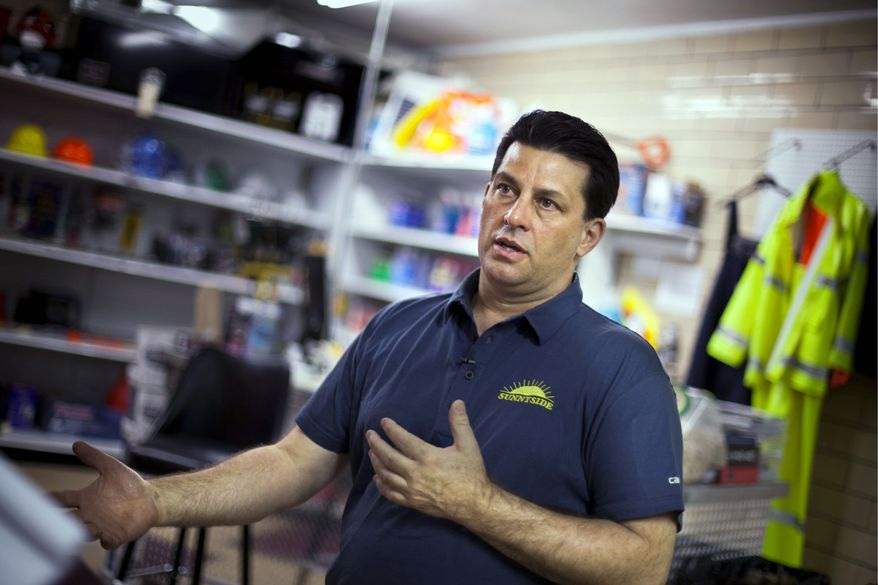 """""""We're modeling our business to what they need."""" - Paul Battista, owner of Sunnyside Supply, an industrial supply store in Slovan, Pa. (Andrew S. Geraci/The Washington Times)"""