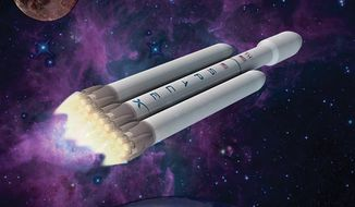 Illustration: Falcon Heavy by Greg Groesch for The Washington Times