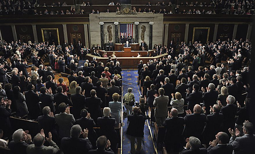Members of Congress stand and applaud as Israeli Prime Minister Benjamin Netanyahu addresses a joint meeting of Congress on Capitol Hill in Washington, Tuesday, May 24, 2011. (AP Photo/Susan Walsh)