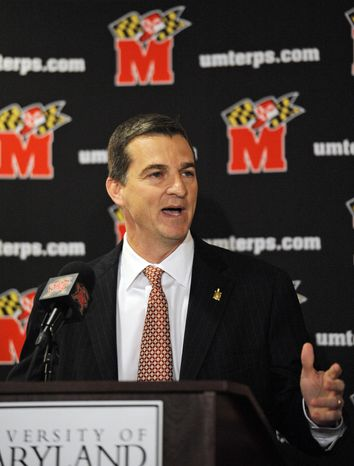 Maryland men's head basketball coach Mark Turgeon speaks during an NCAA college basketball news conference, on May 11, 2011, in College Park, Md. Turgeon realizes for now at least, he will have to live with the lack of depth on the roster, as the Terps have nine scholarship players. (AP Photo/Nick Wass)