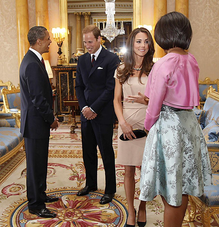 ** FILE ** President Obama (left) and first lady Michelle Obama (right) meet with Britain's Prince William and his wife, the Duchess of Cambridge, nee Kate Middleton, at Buckingham Palace in London on Tuesday, May 24, 2011. (AP Photo/Charles Dharapak, Pool)