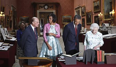 President Obama (second from right), first lady Michelle Obama (second from left), Britain's Queen Elizabeth II (right) and Prince Philip tour the Queen's Gallery at Buckingham Palace in London on Tuesday, May 24, 2011. (AP Photo/Charles Dharapak)