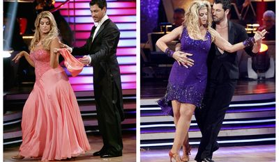 """In this photo combination of file images released by ABC, actress Kirstie Alley and her partner Maksim Chmerkovskiy perform on the celebrity dance competition series, """"Dancing with the Stars,"""" in Los Angeles, on March 28, 2011, at left, and May 16, 2011, at right. Alley has been losing weight week-after-week during the competition. (AP Photo/ABC, Adam Taylor, File)"""