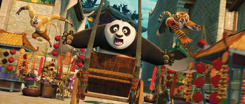 """Jack Black again voices Po the panda (center) in the 3-D animated sequel """"Kung Fu Panda 2,"""" while Jackie Chan and Angelina Jolie also return, respectively voicing Monkey (left) and Tigress (right). The film smoothly picks up the story from the 2008 original but avoids repeating old jokes. (Dreamworks via Associated Press)"""