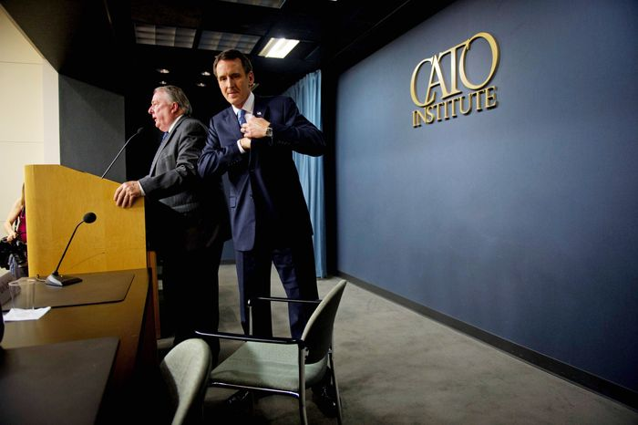 """""""We can't have the people getting paid by the taxpayers getting a better deal than the taxpayers themselves,"""" presidential candidate Tim Pawlenty said at the Cato Institute on Wednesday. Institute President Ed Crane is at left. (Rod Lamkey Jr./The Washington Times)"""