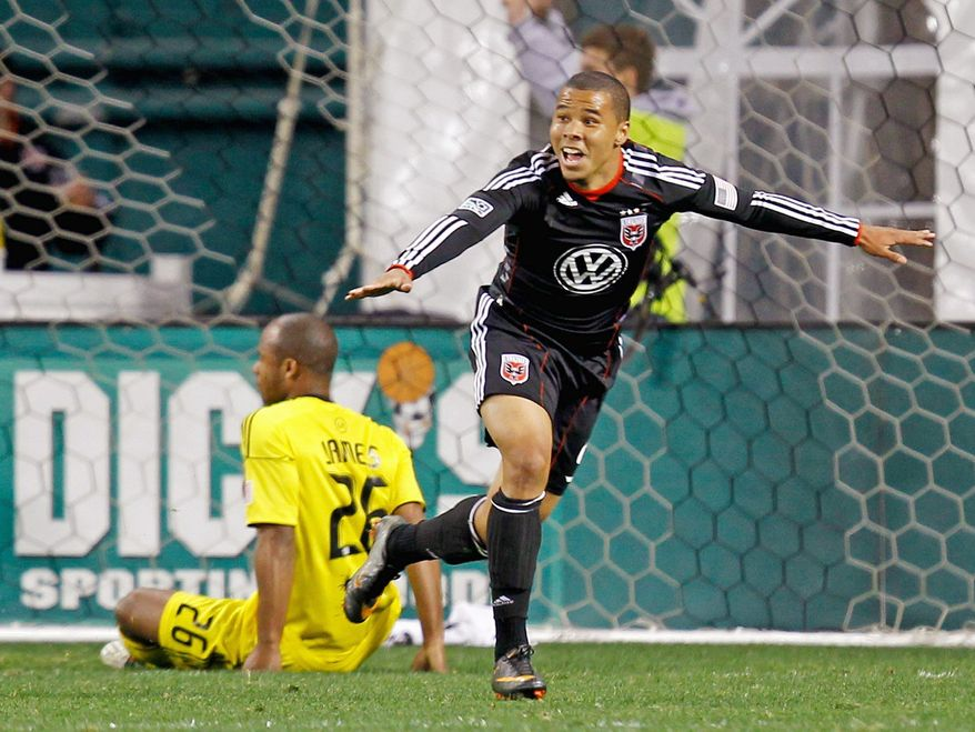 Charlie Davies, shown after scoring against the Columbus Crew in March, scored three goals against Chivas USA in D.C. United's 3-0 win Saturday night. (Associated Press)