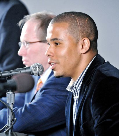 Charlie Davies speaks during an introductory press conference for D.C. United on Wednesday, February 16, 2011. (Ben Keller/D.C. United)