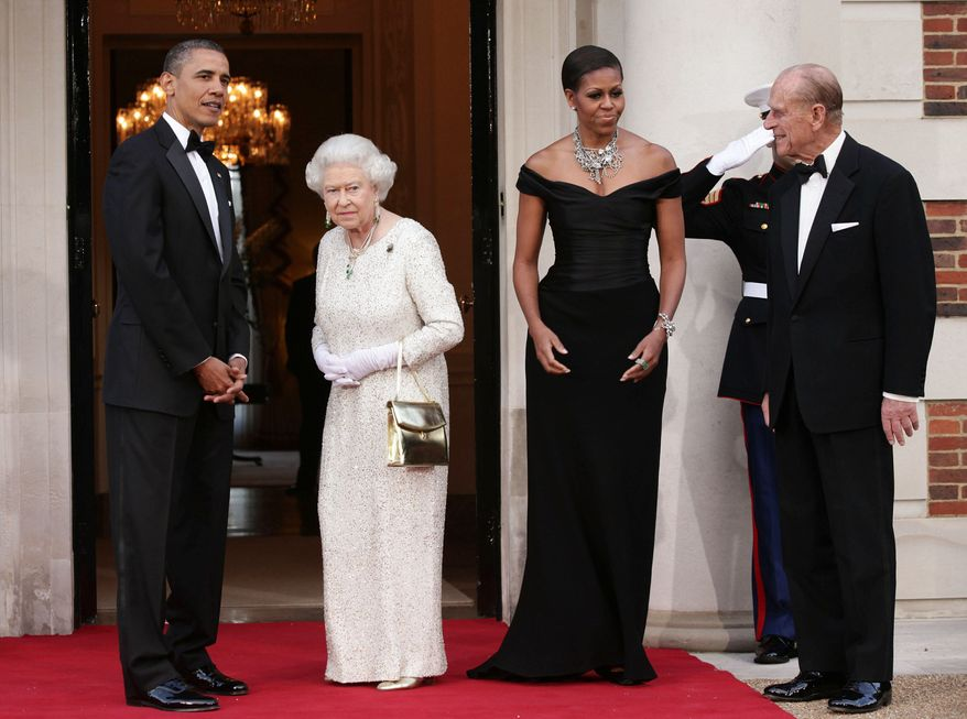 President Obama and first lady Michelle Obama welcome Britain's Queen Elizabeth II and the Duke of Edinburgh at Winfield House, the residence of the Ambassador of the U.S., in Regent's Park, London. (Associated Press)