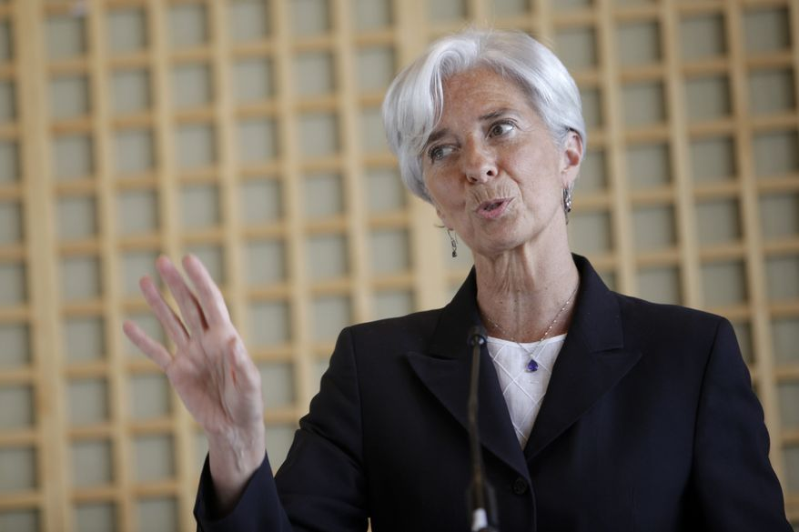 French Finance Minister Christine Lagarde announces her bid to lead the International Monetary Fund at a news conference in Paris on Wednesday, May 25, 2011. (AP Photo/Thibault Camus)