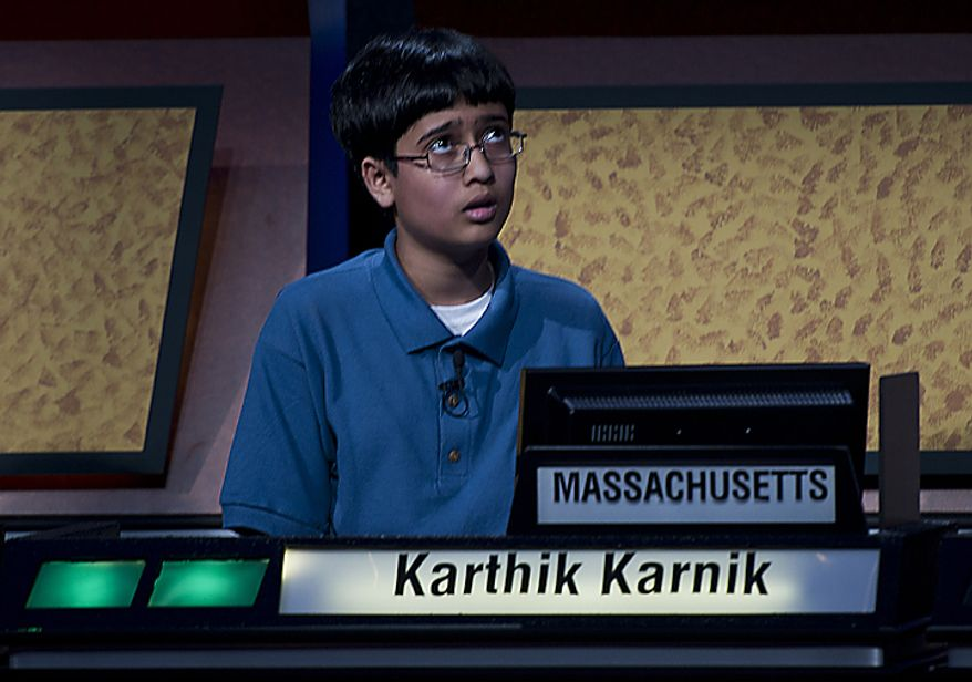 Thirteen-year-old Karthik Karnik of Norfolk, Mass., looks up as he tries to come up wtih an answer during the final round of the 2011 National Geographic Bee, which was held Wednesday, May 25, 2011 at the National Geographic Society. Karthik competed against 9 other boys from around the country who ranged in age from 10 to 13. (Barbara L. Salisbury/The Washington Times)