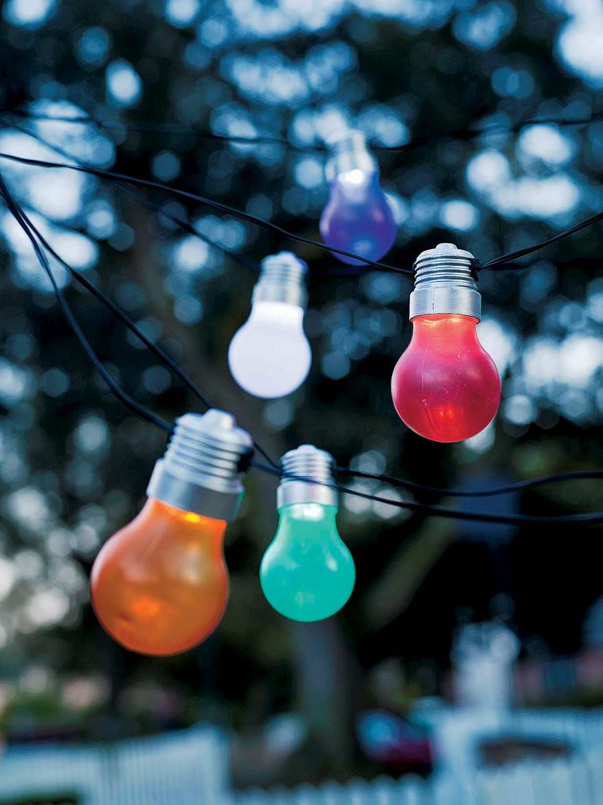 This product image courtesy of Plow and Hearth shows Light Bulb Solar Lights. Whether on a small terrace or in a sweeping landscape, lighting creates a welcoming and often dramatic atmosphere. (AP Photo/Plow and Hearth, Andy Franck)
