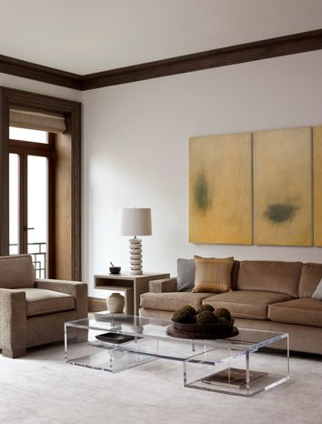 This undated photo courtesy of Bruce Buck for Coffinier Ku Design shows a room designed by Coffinier Ku Design in a West Village townhouse in New York. The Lucite pieces in this room were designed by Coffinier Ku Design and fabricated by PlexiCraft. Etienne Coffinier, an architect and furniture designer who grew up in Algeria, the Netherlands and Dubai, works solely in clear Lucite. (AP Photo/Coffinier Ku Design, Bruce Buck)