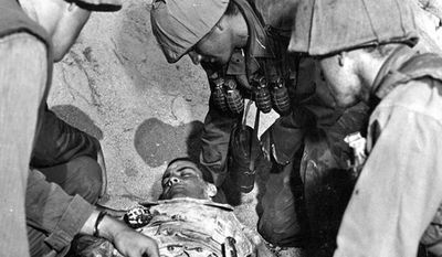 "PFC Ricardo Carrasco's original death scene, later cut from the film out of respect for the Carrasco family, from the 1953 Paramount Pictures movie, ""Cease Fire!"""