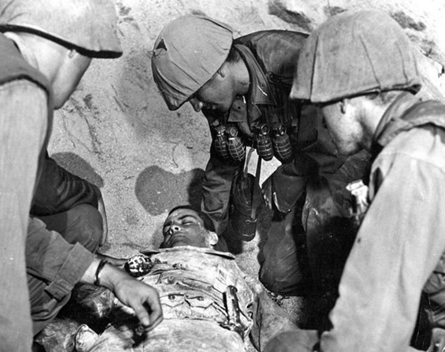 """PFC Ricardo Carrasco's original death scene, later cut from the film out of respect for the Carrasco family, from the 1953 Paramount Pictures movie, """"Cease Fire!"""""""