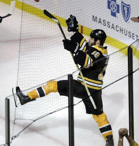 NHL Playoffs: Boston Bruins right wing Nathan Horton celebrates his goal -- the only goal of the game for either team -- against the Tampa Bay Lightning during the third period in Game 7. The Bruins will face the Vancouver Canucks in the Stanley Cup finals. (AP Photo/Charles Krupa)