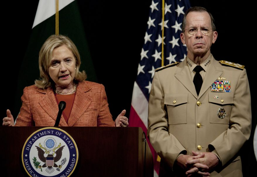 U.S. Secretary of State Hillary Rodham Clinton addresses a news conference with Adm. Mike Mullen, the chairman of the U.S. Joint Chiefs of Staff, at the U.S. Embassy in Islamabad, Pakistan, on May 27, 2011. (Associated Press)