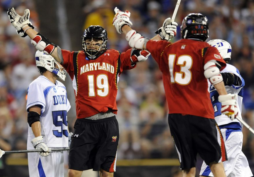 NCAA lacrosse: Maryland's Joe Cummings reacts after scoring against Duke late in the second half of the NCAA college men's Division I lacrosse semifinal game Saturday, May 28, 2011. Maryland won 9-4 and will play in the title game against Virginia on Monday. (AP Photo/Gail Burton)