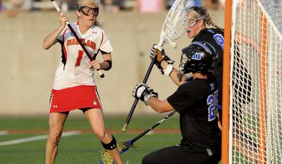 NCAA women's lacrosse: Maryland attacker Sarah Mollison (1) takes a point-blank shot on goal against Duke goal keeper Mollie Mackler (25) in the NCAA Division I Women's Lacrosse semifinals at LaValle Stadium, Stony Brook University in Stony Brook, N.Y., Friday, May 27, 2011. (AP Photo/Newsday, Kathleen Malone-Van Dyke)