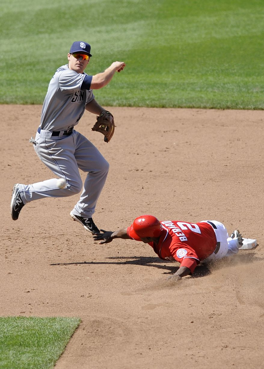 Washington Nationals' Roger Bernadina (2) is out at second as San Diego Padres second baseman Logan Forsythe throws to first to convert a double-play on a grounder by Washington Nationals' Michael Morse during the ninth inning. The Padres won 2-1. (AP Photo/Nick Wass)