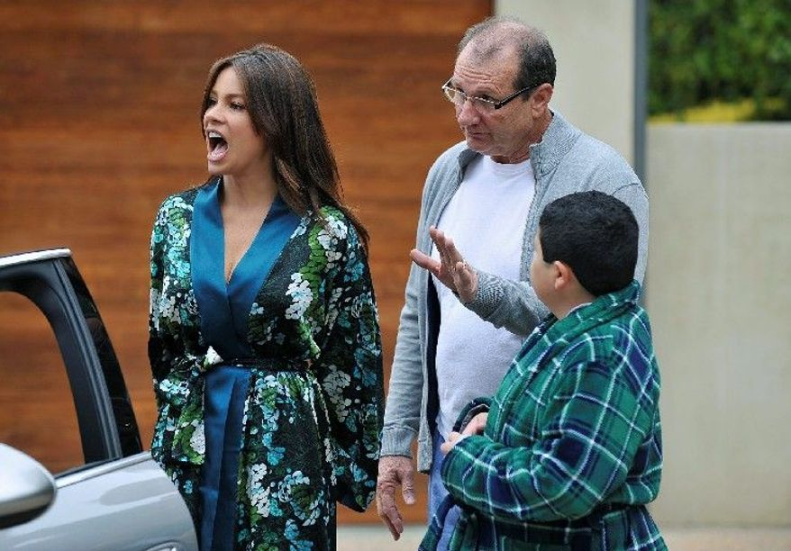 """Sofia Vergara portrays Gloria, Ed O'Neill (center) plays her husband, Jay, and Rico Rodriguez is her son Manny on """"Modern Family."""" They are the Prichetts in the series, which also focuses the lives of the Dunphy family in the ensemble comedy show that airs on ABC. (Associated Press)"""