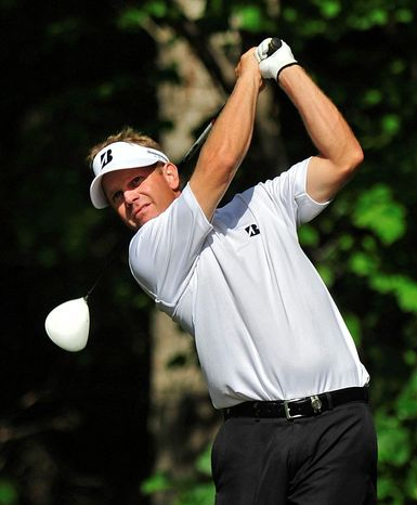 DAVID TULLIS/ATHENS BANNER HERALD Billy Hurley, shown during a practice round for the Athens Stadion Classic at the University of Georgia, will qualify for the U.S. Open with a top-10 finish at the sectionals June 6 at Woodmont Country Club.