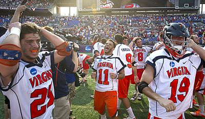 Pat Harbeson (11) of the Virginia Cavaliers celebrates the Cavaliers' 9-7 victory over the Maryland Terrapins for the 2011 NCAA Lacrosse Championship at M&T Bank Stadium in Baltimore on Monday, May 30, 2011. (Rod Lamkey Jr./The Washington Times)