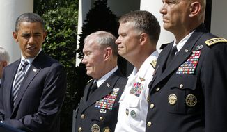 President Obama introduces (from left) Army Gen. Martin E. Dempsey, the next chairman of the Joint Chiefs of Staff; Adm. James A. Winnefeld, the new vice chairman of the Joint Chiefs; and Gen. Ray Odierno, the next Army chief of staff, during a Rose Garden ceremony at the White House in Washington on Monday, May 30, 2011. (AP Photo/Charles Dharapak)
