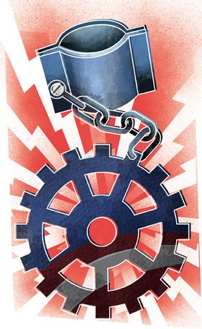 Illustration: Union policies by Linas Garsys for The Washington Times