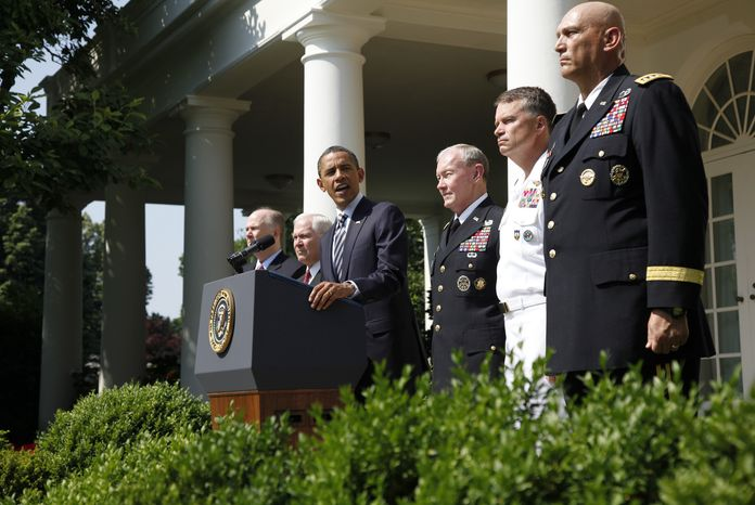 President Obama introduces (from third from right) Army Gen. Martin E. Dempsey, the next chairman of the Joint Chiefs of Staff; Adm. James A. Winnefeld, the new vice chairman of the Joint Chiefs; and Gen. Ray Odierno, the next Army chief of staff, during a Rose Garden ceremony at the White House in Washington on Monday, May 30, 2011. Also pictured are (from left) National Security Adviser Tom Donilon and Defense Secretary Robert M. Gates. (AP Photo/Charles Dharapak)