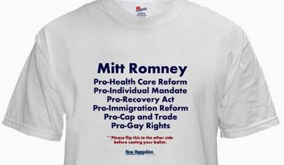 "NEW HAMPSHIRE DEMOCRATIC PARTY The New Hampshire Democratic Party has crafted ""The Two Sides of Mitt"" Romney T-shirt."