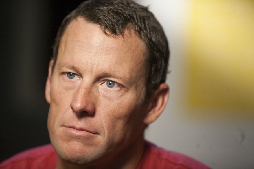 """This photo from Feb. 15, 2011, shows Lance Armstrong during an interview in Austin, Texas. Attorneys for Armstrong have demanded an on-air apology from """"60 Minutes"""" after the head of Switzerland's anti-doping laboratory denied allegations the seven-time Tour de France winner tested positive for performance-enhancing drugs at the 2001 Tour de Suisse. (Associated Press)"""
